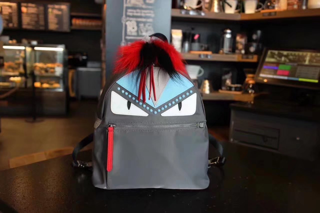 Fendi Women Backpack in Steel Gray Nylon Bag Bugs Monsters