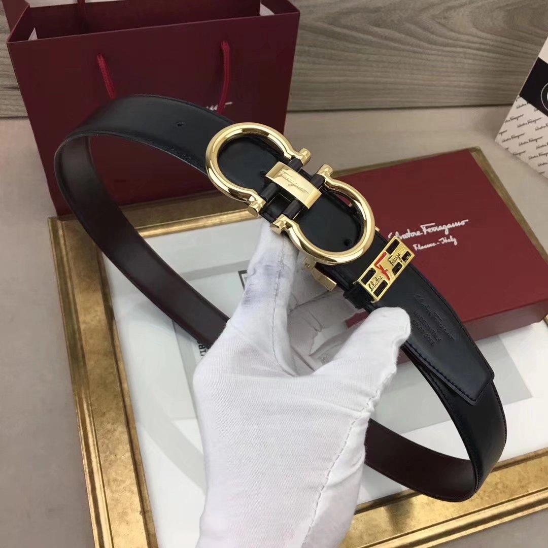 Ferragamo 037 3.4cm Men Leather Reversible Belt With Gold Buckle