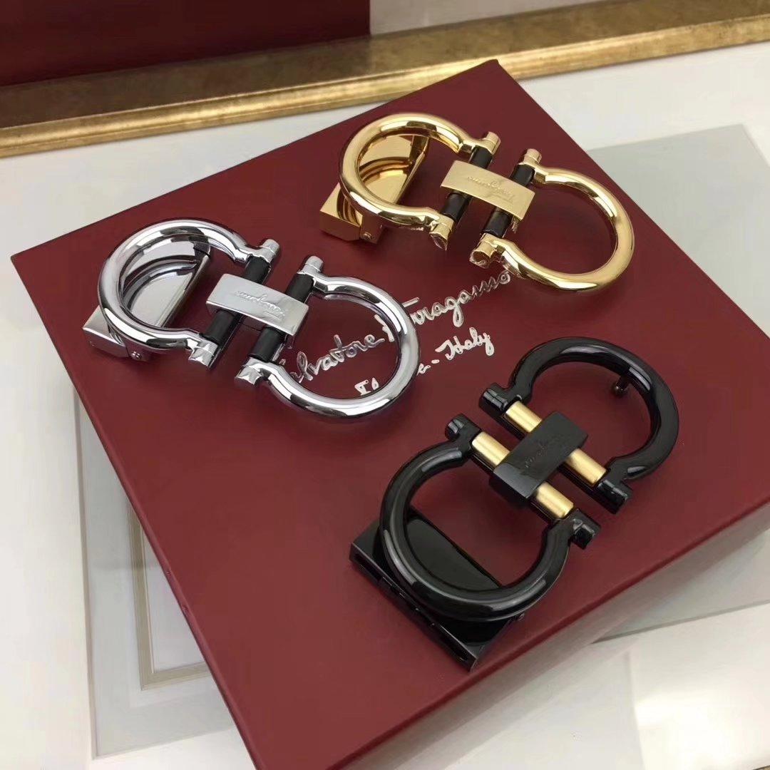 Ferragamo 038 3.4cm Men Leather Reversible Belt With Silver Buckle