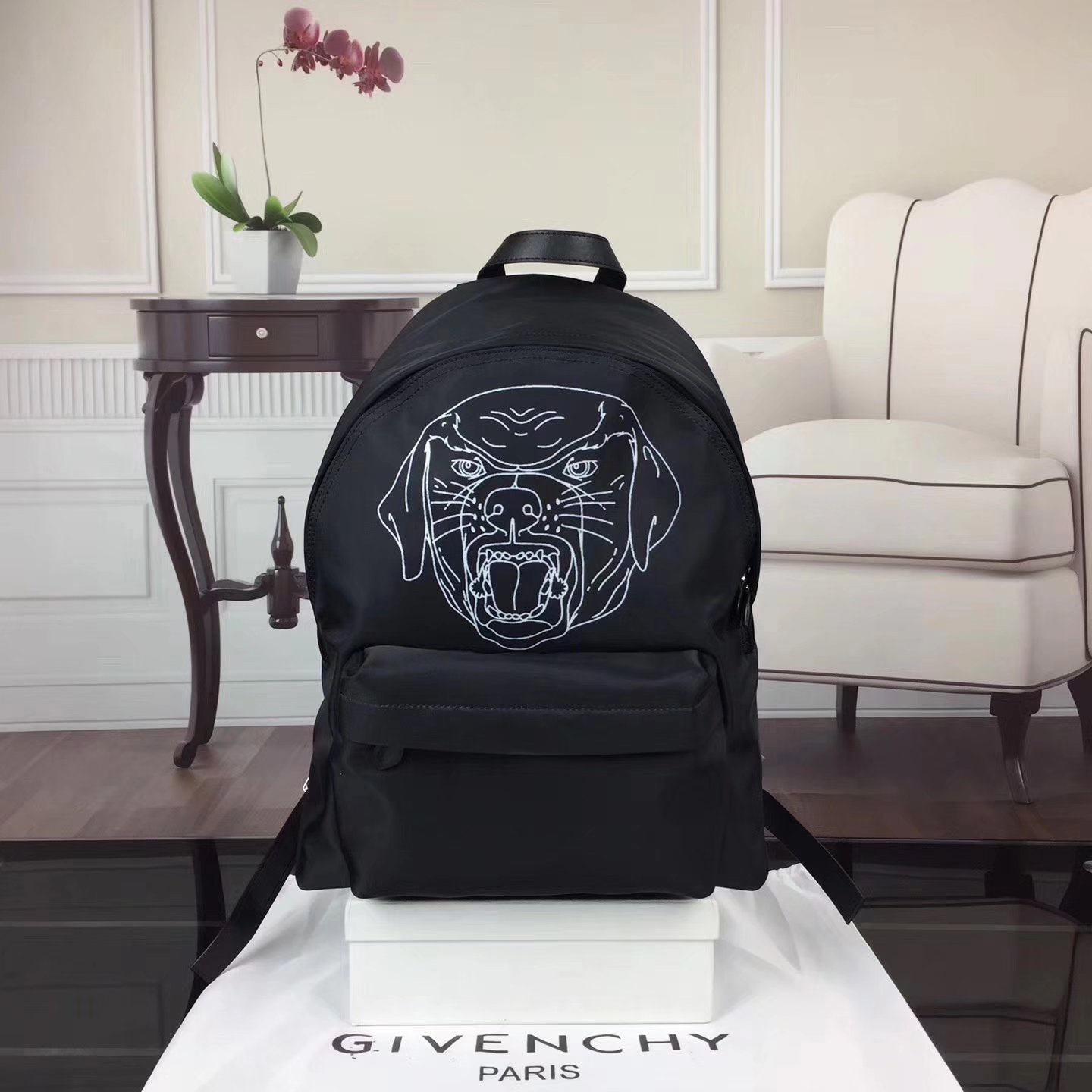 Givenchy Rottweiler Print Men Nylon Backpack Black