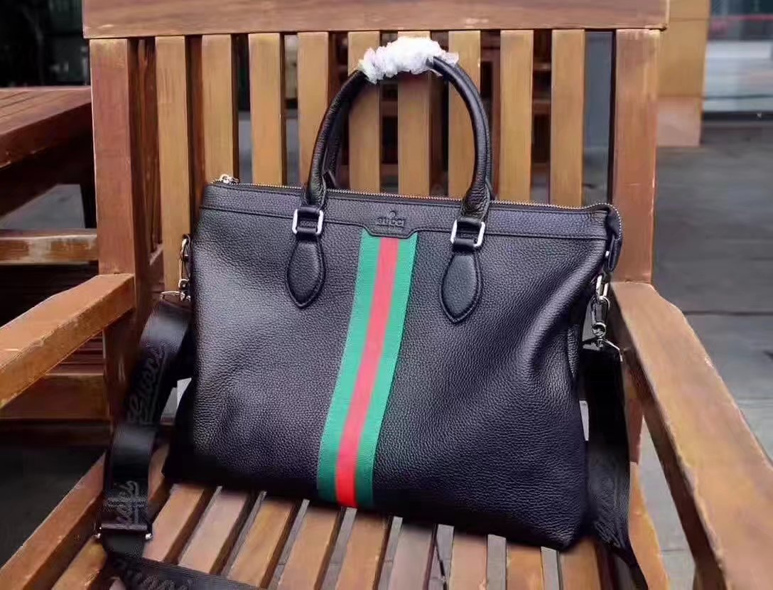 Gucci 0263-1 Webby Leather Briefcase Black