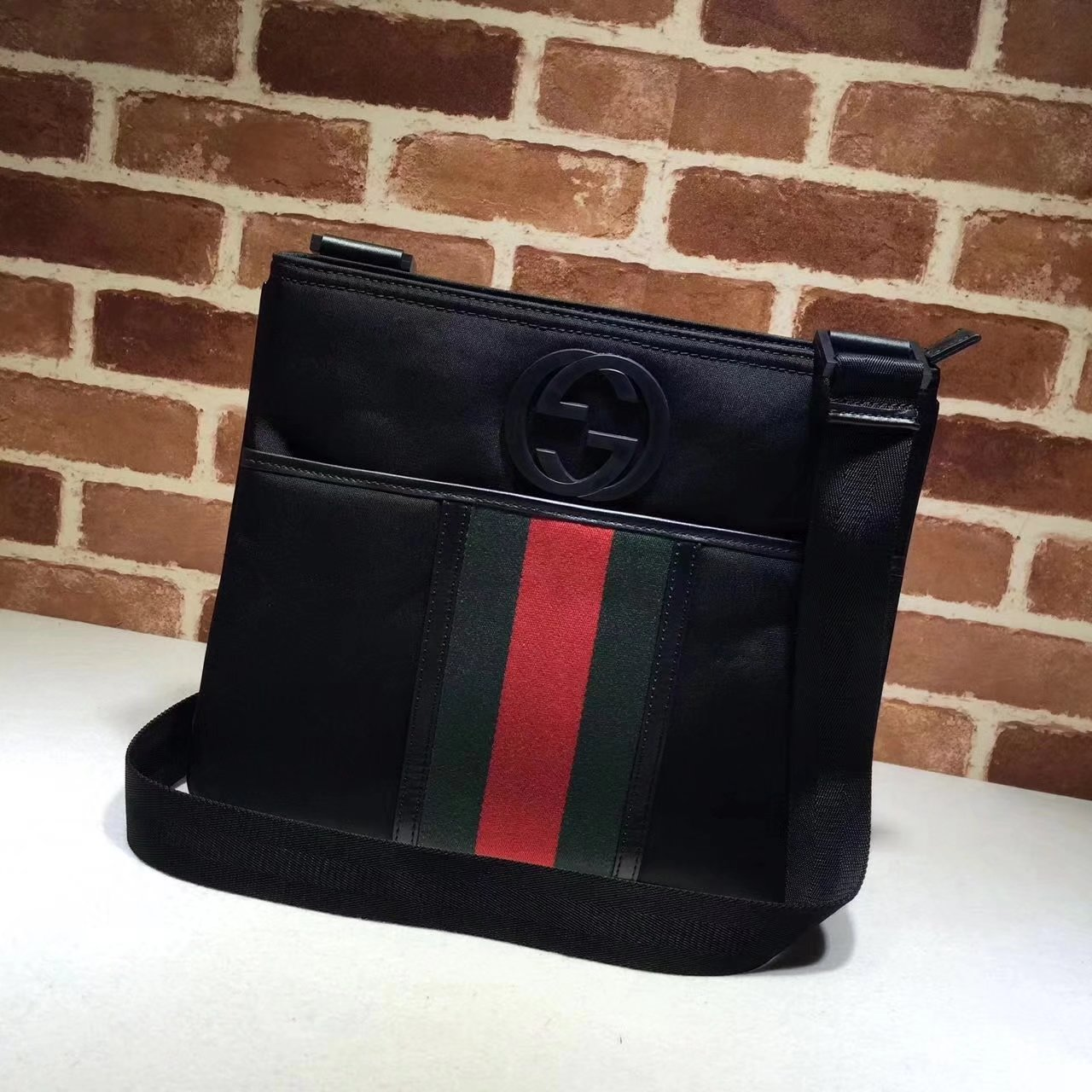 Gucci 181067 Web Nylon Men Messenger Bag Black