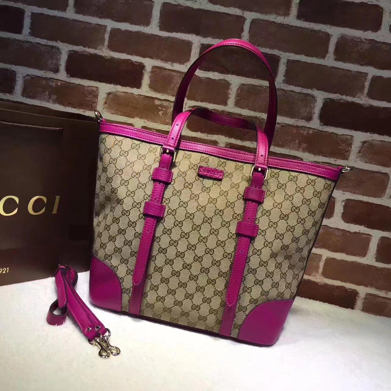 Original Gucci 387602 GG Supreme Women Tote Bag Pink