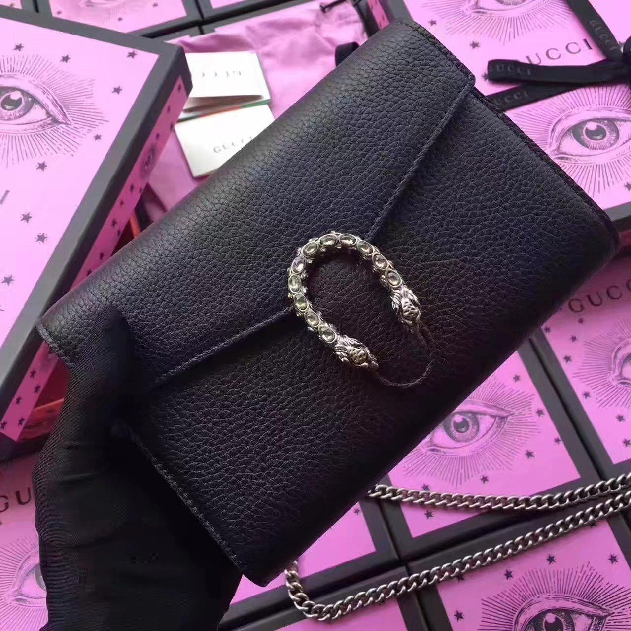 Gucci 401231 Dionysus Leather Mini Bag Black 5367f29fb6