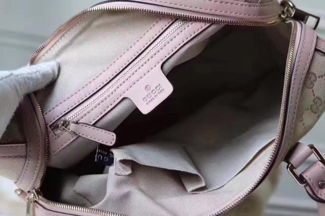 Gucci 406868 Bee Print Gg Supreme Boston Tote Bag Pink