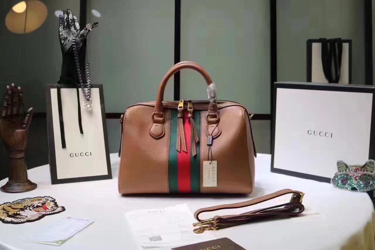 Gucci 415728 Leather Web Boston Tote Bag Coffee