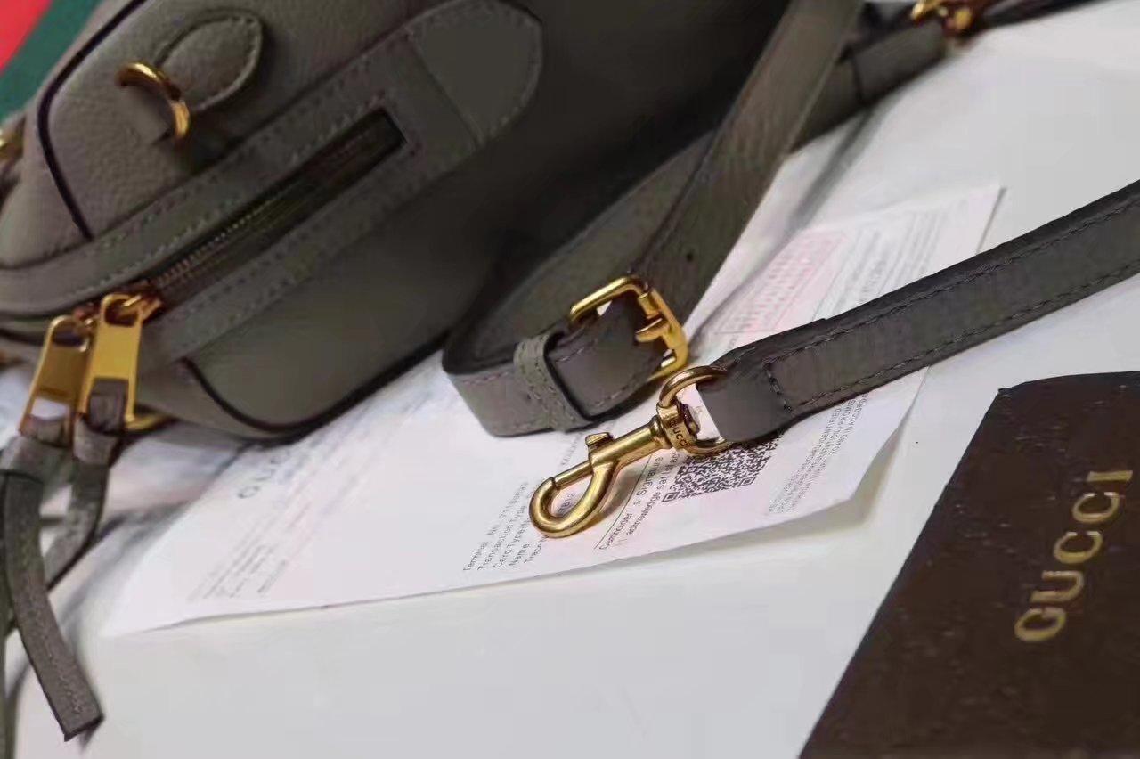 Gucci 415728 Leather Web Boston Tote Bag Grey