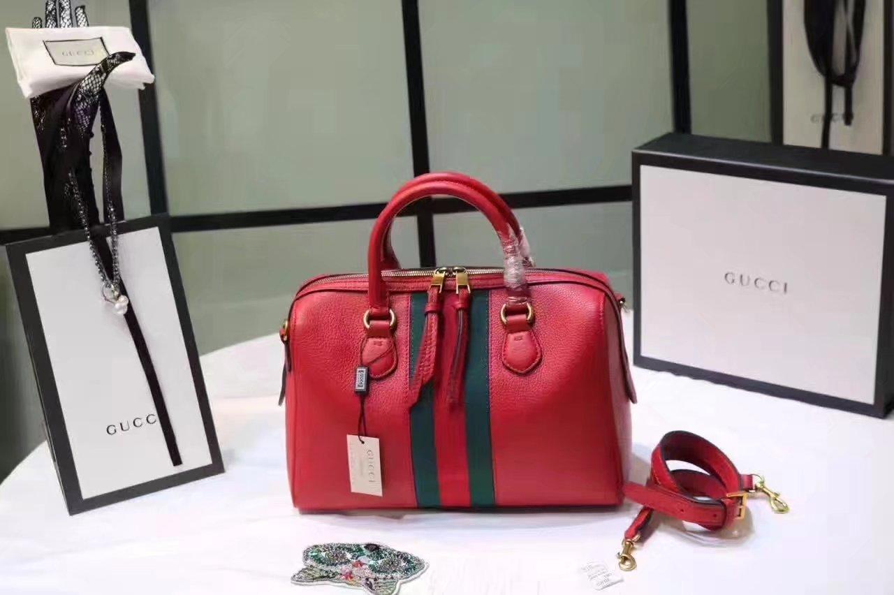 Gucci 415728 Leather Web Boston Tote Bag Red