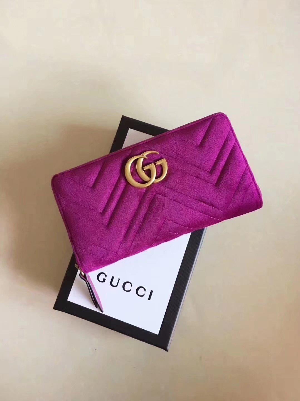 gucci 443123 velvet gg marmont zip around wallet rose