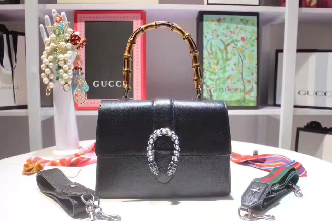 Gucci 448075 Dionysus Black Leather Top Handle Bag With Silver