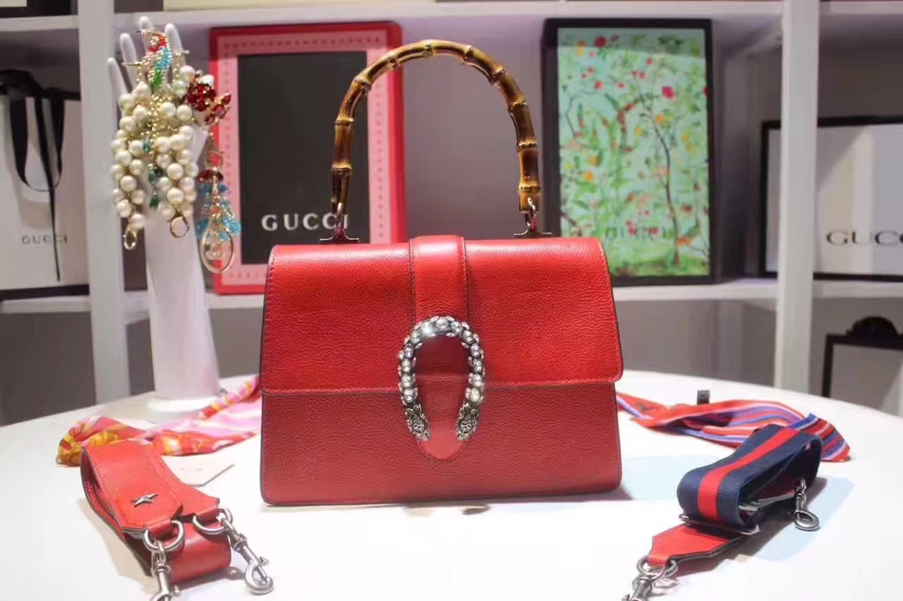 Gucci 448075 Dionysus Red Leather Top Handle Bag With Silver