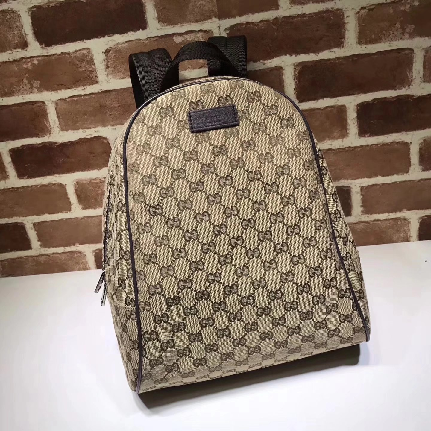Gucci 449906 GG Supreme Canvas Men Backpack Coffee