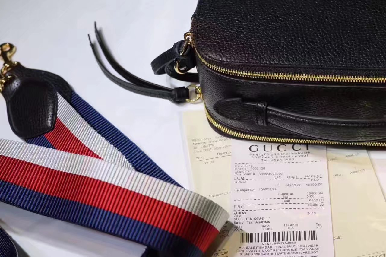 Gucci 453565 Snake Print Leather Shoulder Bag Black