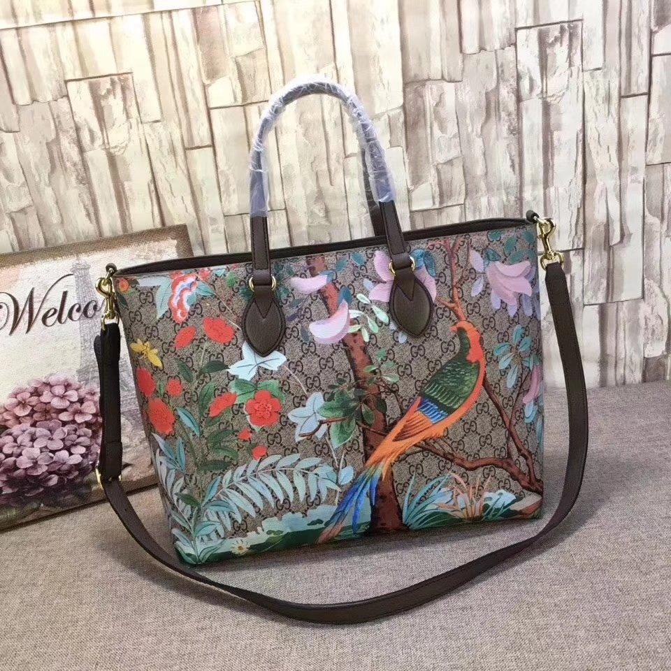 Gucci 453705 Gucci Tian Print Soft GG Tote Handbags Supreme