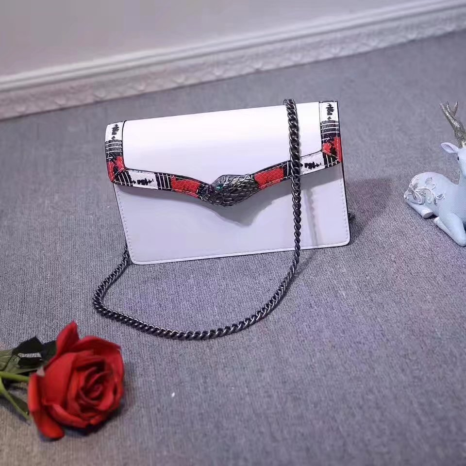 Gucci 453751 Lilith Leather Top Handle Bag White Leather