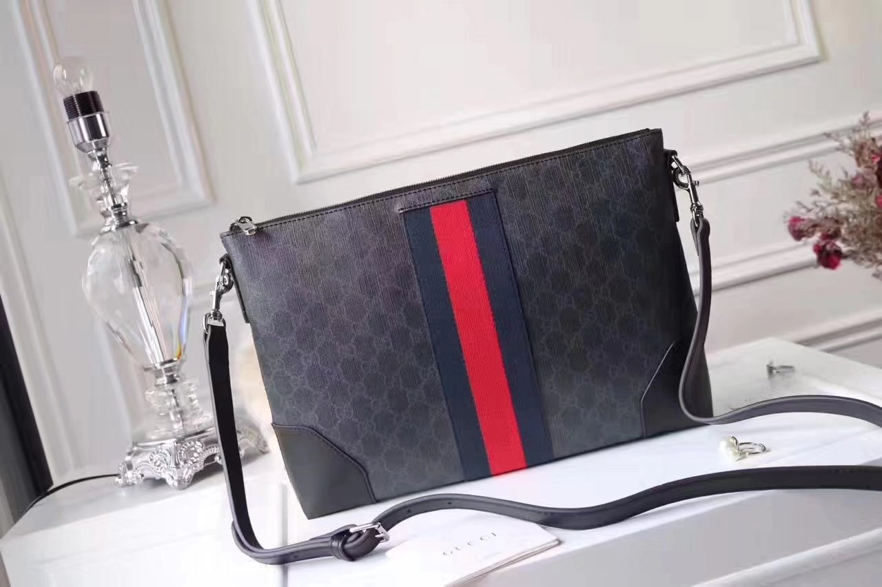 Gucci 474139 GG Supreme Men Messenge Bag Black