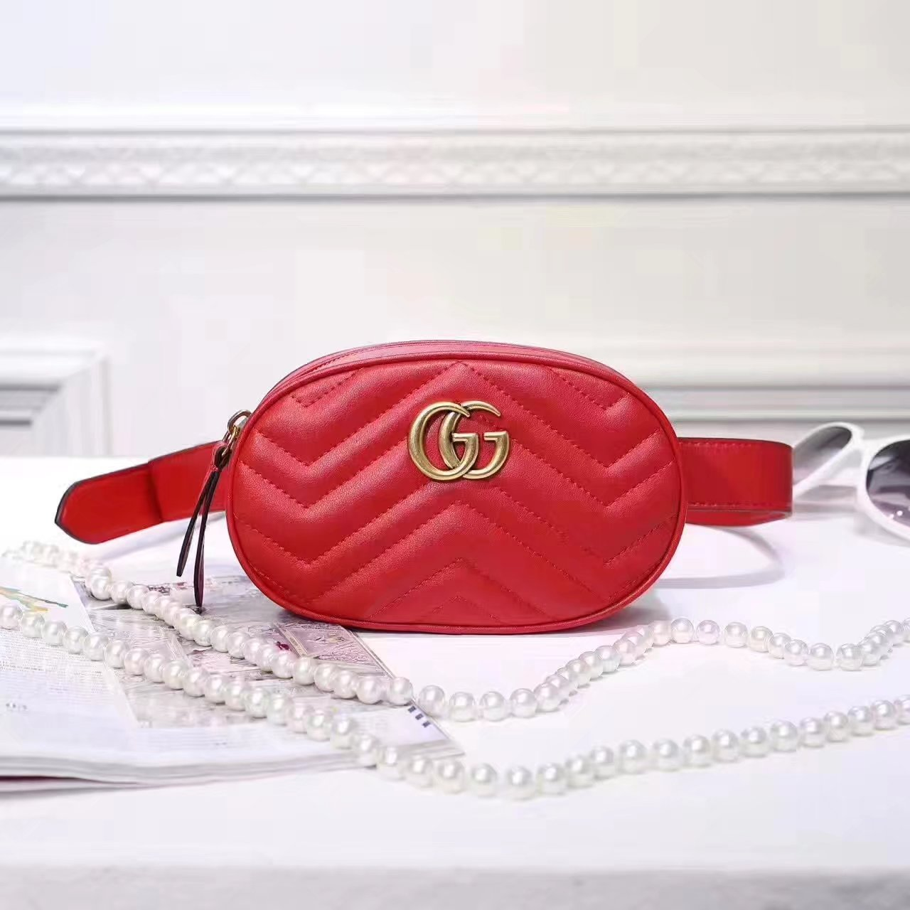 Gucci 476434 GG Marmont Matelassé Leather Belt Bag Red