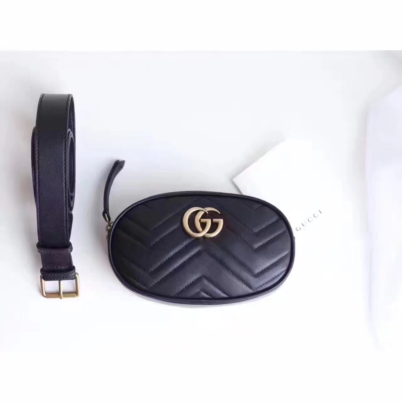 Gucci 476434 GG Marmont Matelassé Leather Belt Bag Black