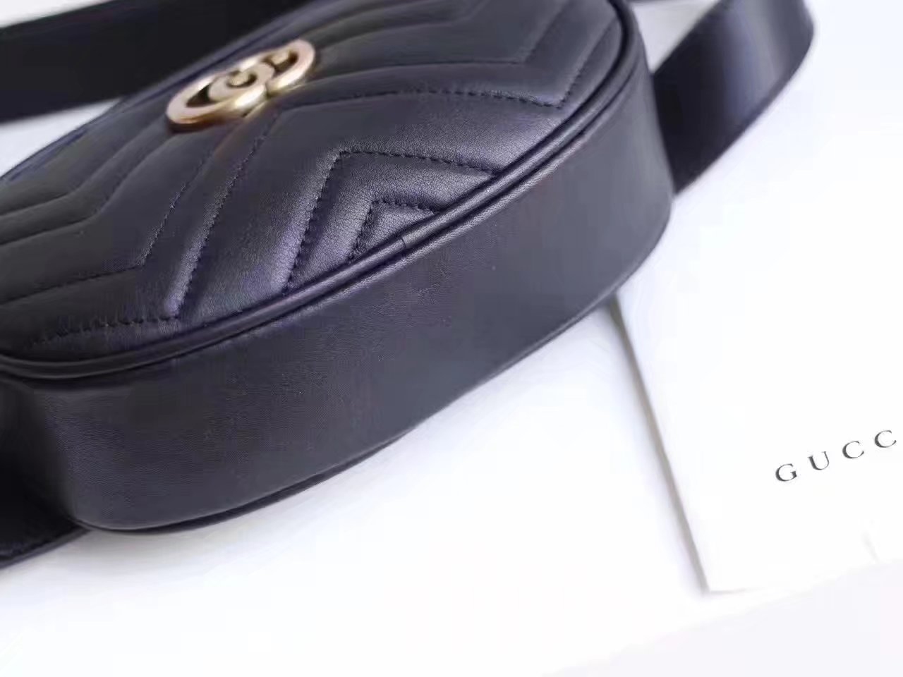 Gucci 476434 GG Marmont Matelasse Leather Belt Bag Black