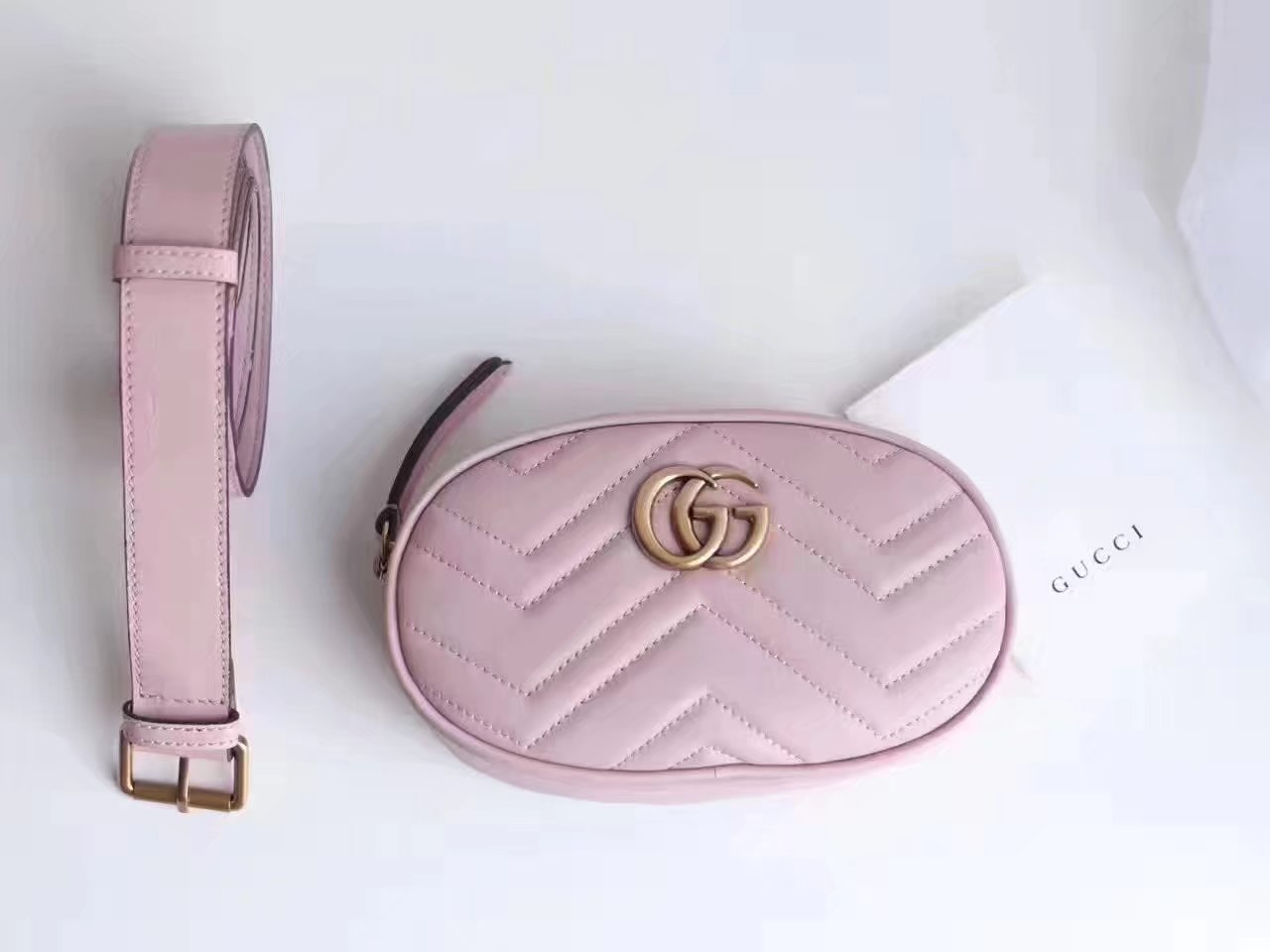 Gucci 476434 GG Marmont Matelassé Leather Belt Bag Pink