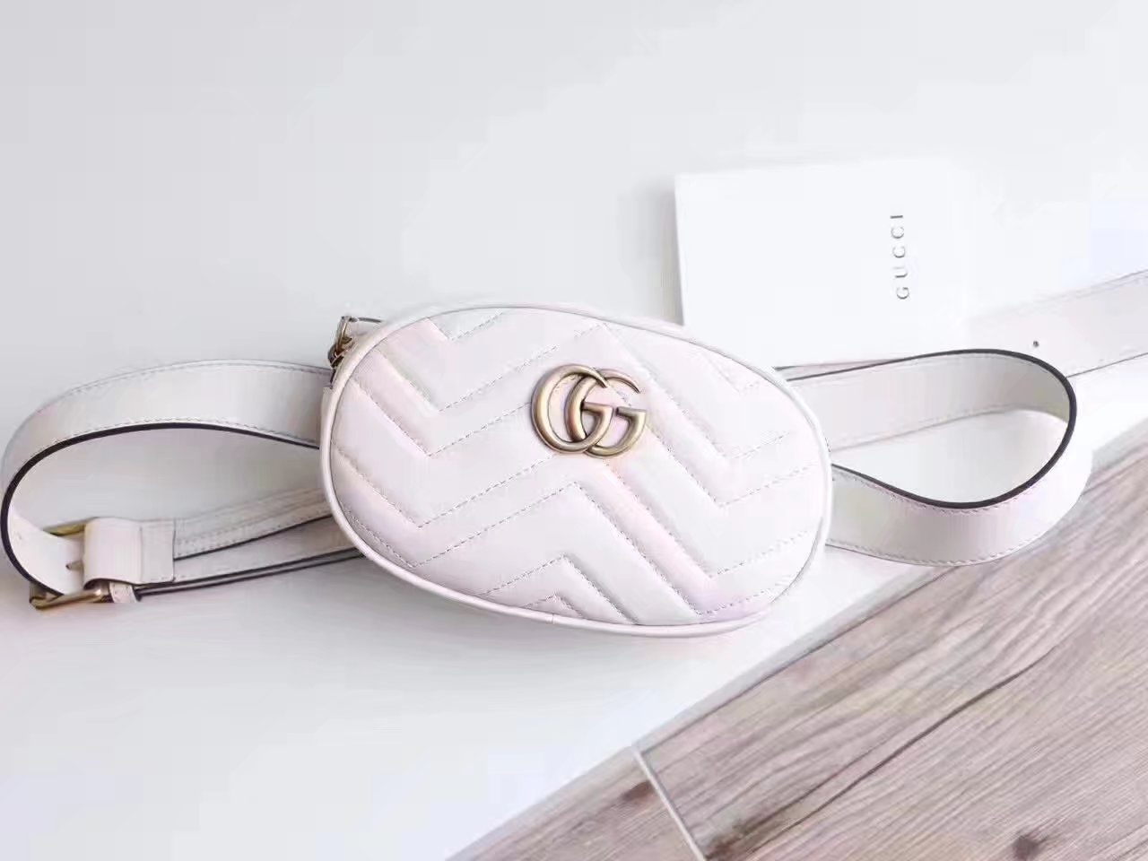 Gucci 476434 GG Marmont Matelassé Leather Belt Bag White