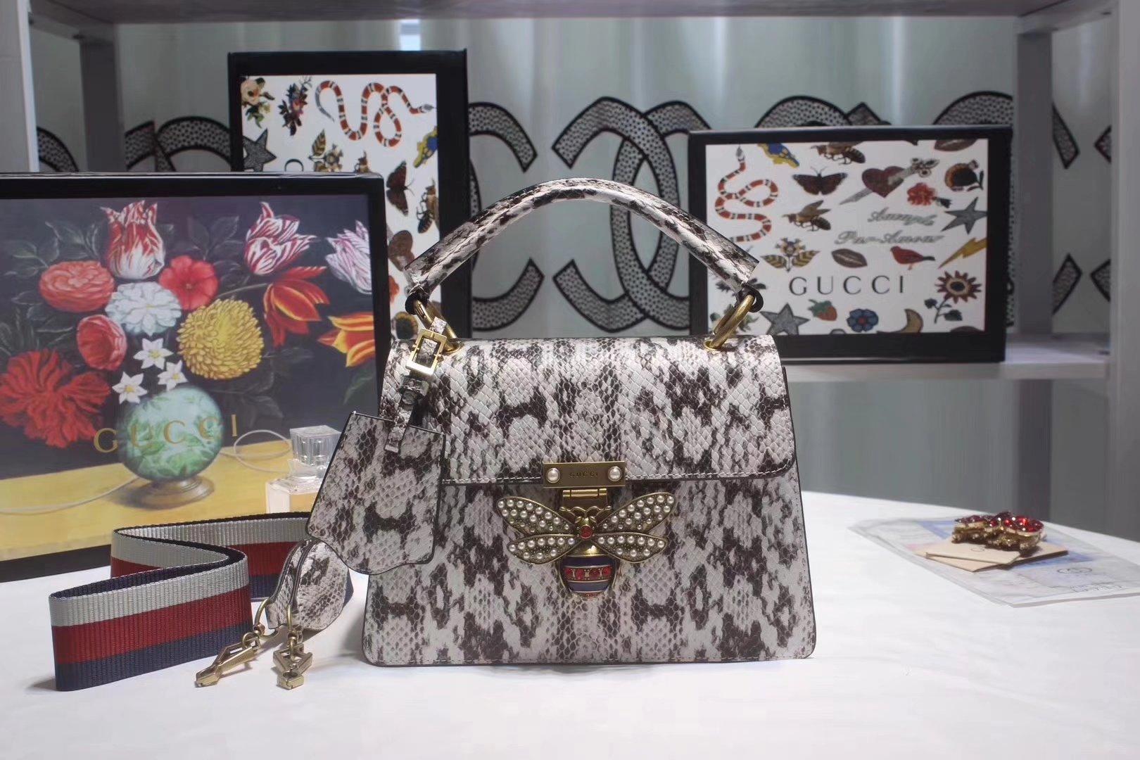 Gucci 476541 Queen Margaret Small Snakeskin Top Handle Bag