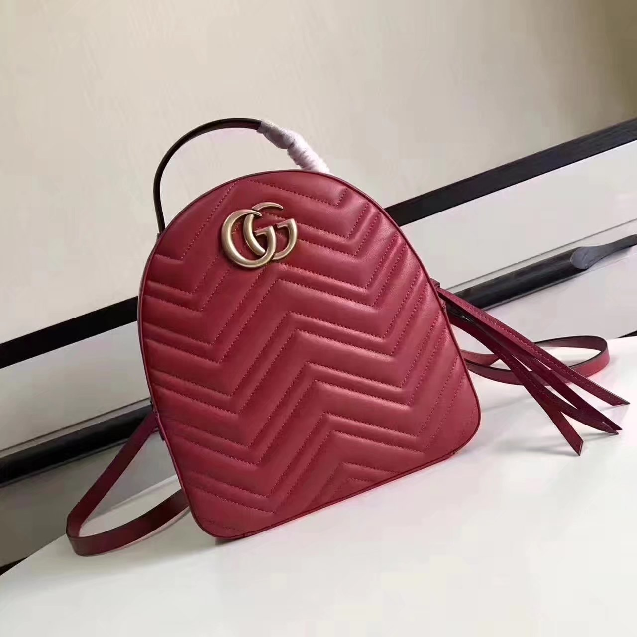 Top Quality Gucci 476671 GG Marmont Quilted Leather Backpack Red