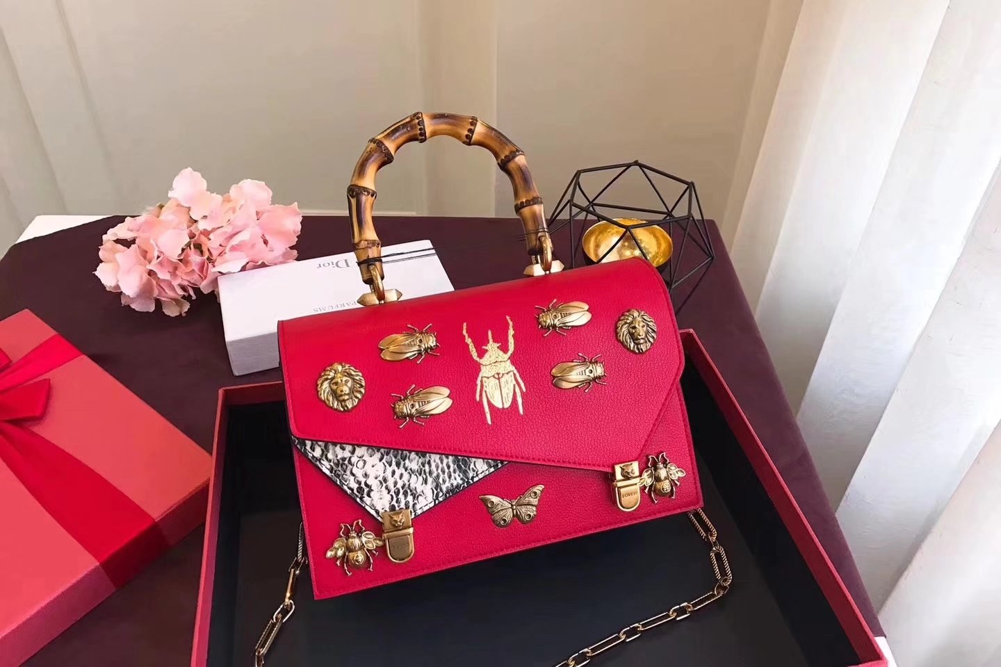Gucci 488715 Ottilia Printed Insects Beetles Leather Small Top Handle Red