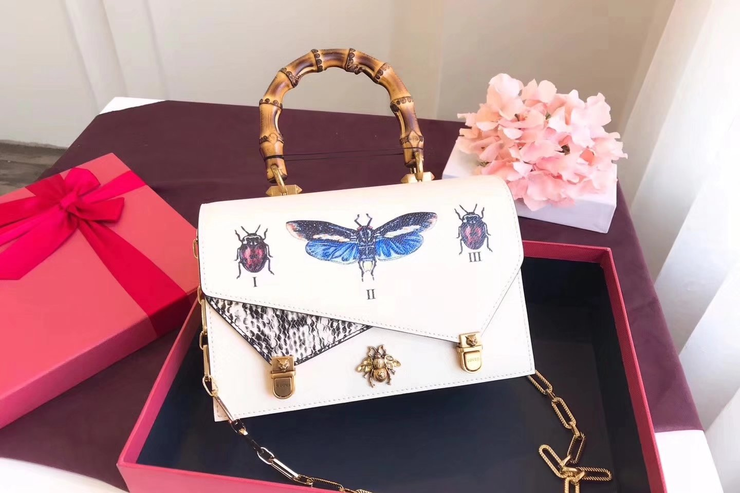 Gucci 488715 Ottilia Printed Insects Beetles Leather Small Top Handle White
