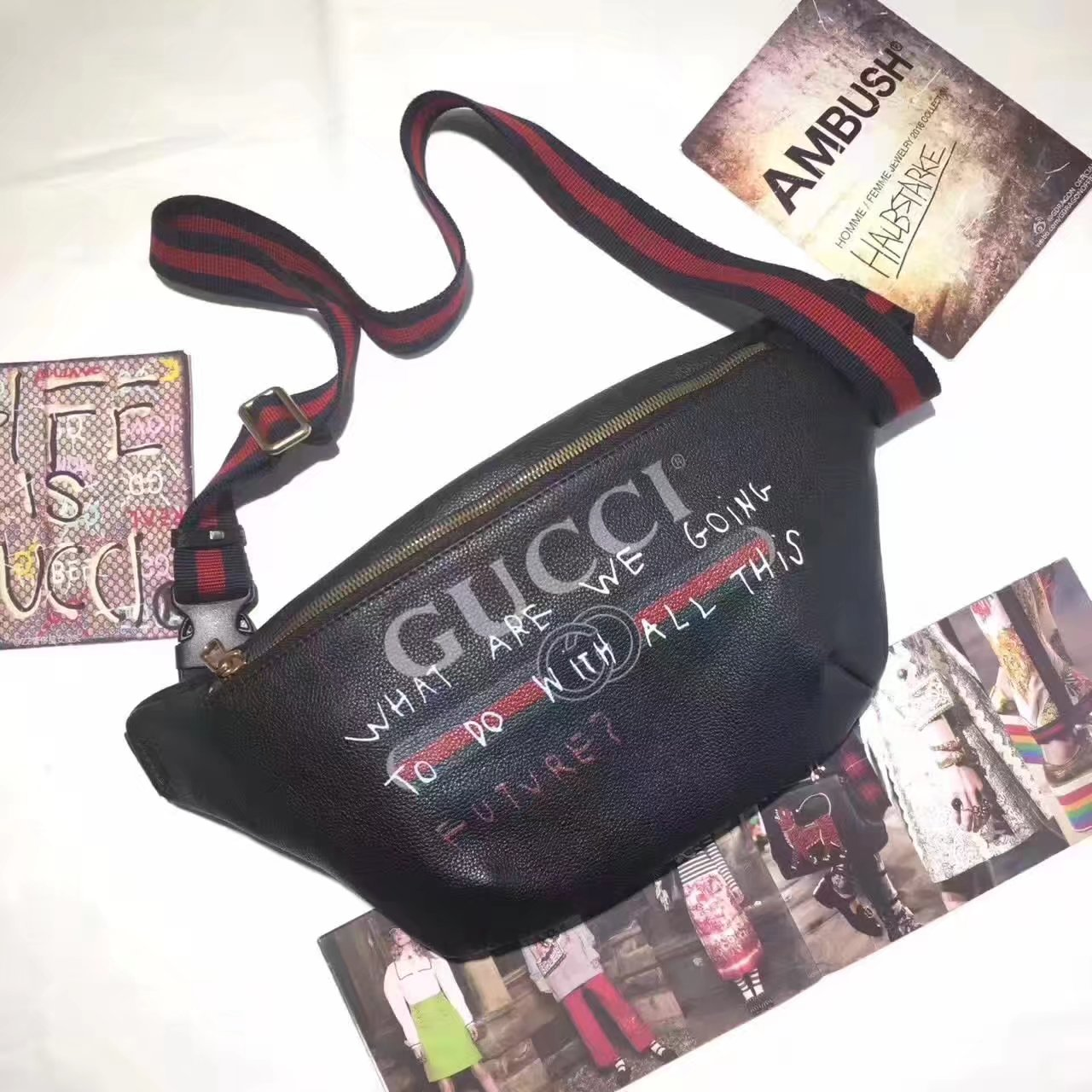 Gucci 493869 Women Print Leather Belt Bag Black