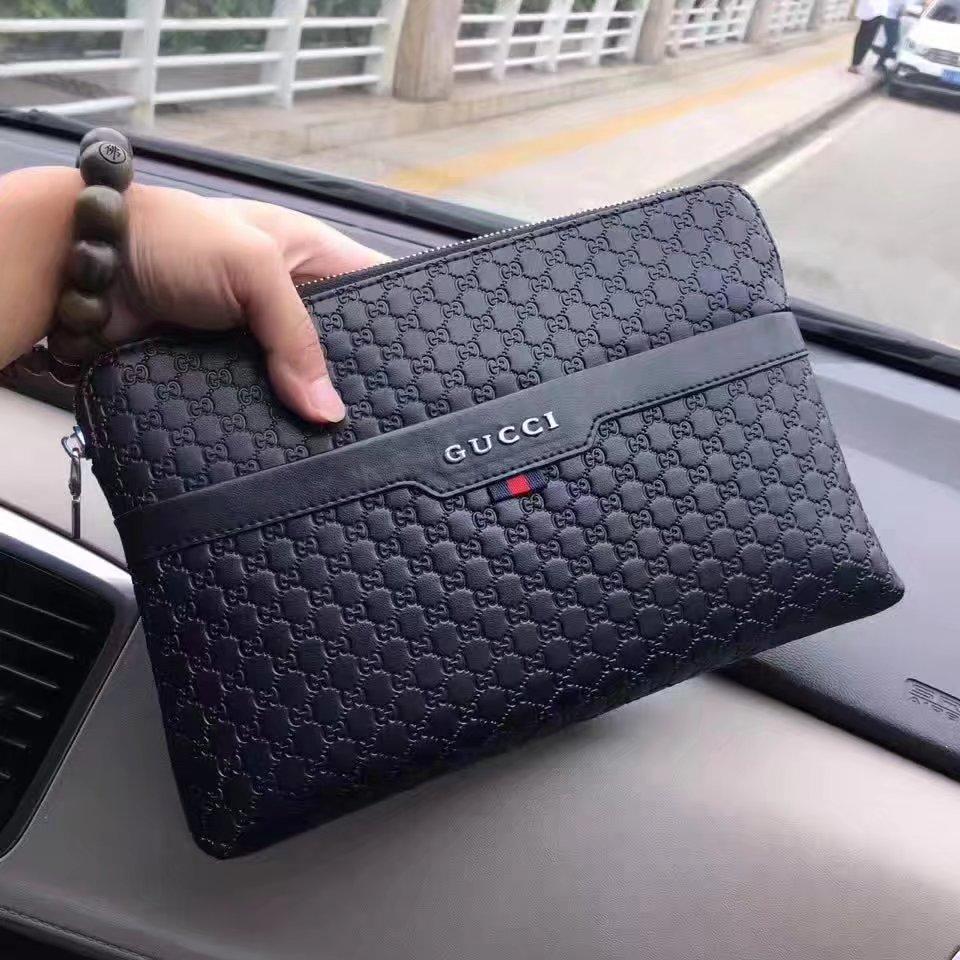Gucci 9072 Signature Men Clutch Bag Black
