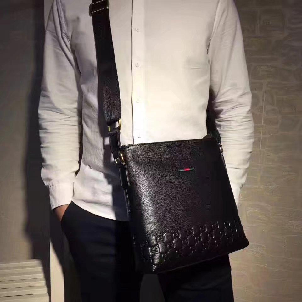 Gucci B55501 Men Leather Messenger Bag