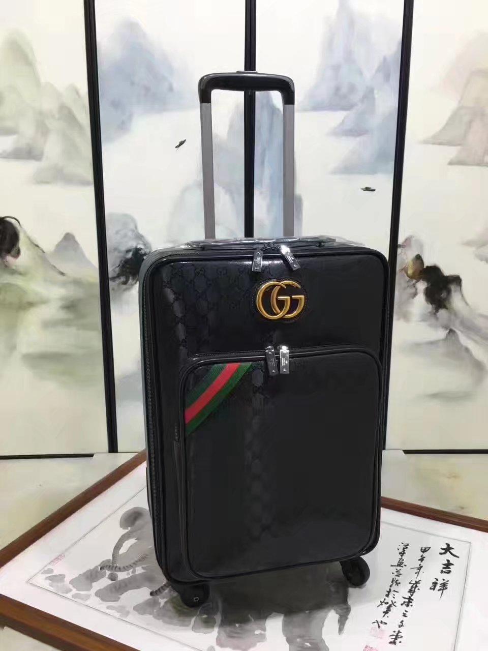 Gucci Luggage GG Supreme 20 inch Black Gold