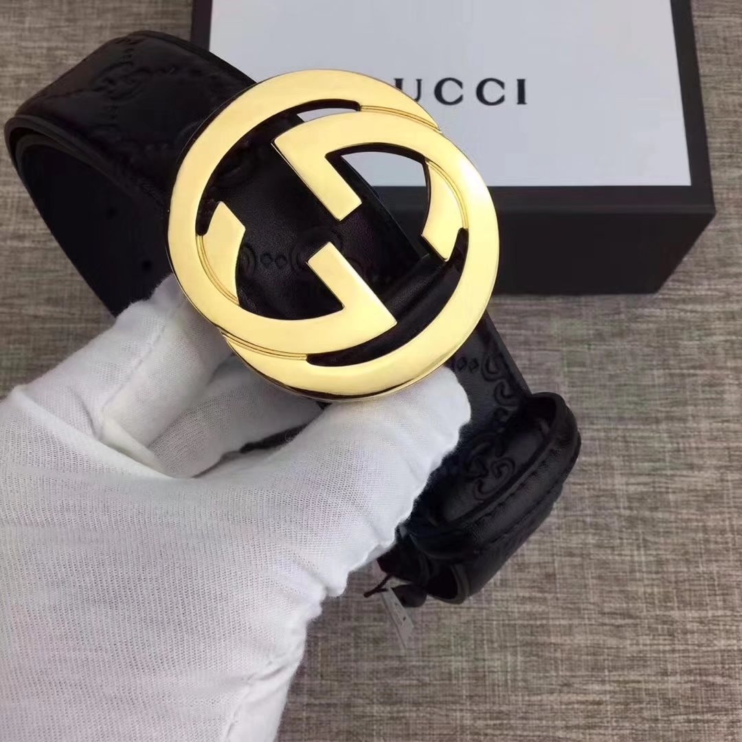 Gucci Men Leather Blet With Gold Buckle 015