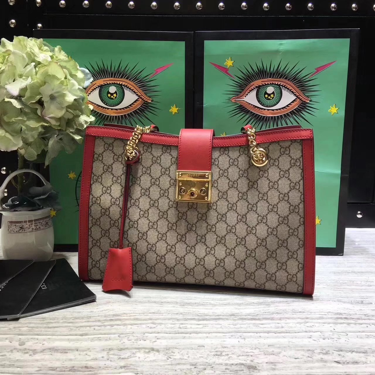 Original Quality Gucci 479197 Padlock Medium GG Supreme Canvas Shoulder Bag Red