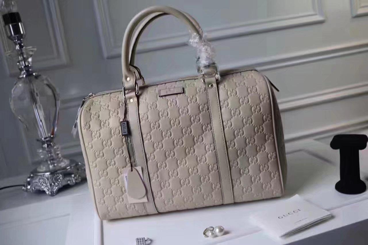 Gucci Signature Leather Women Boston Tote Bag Grey