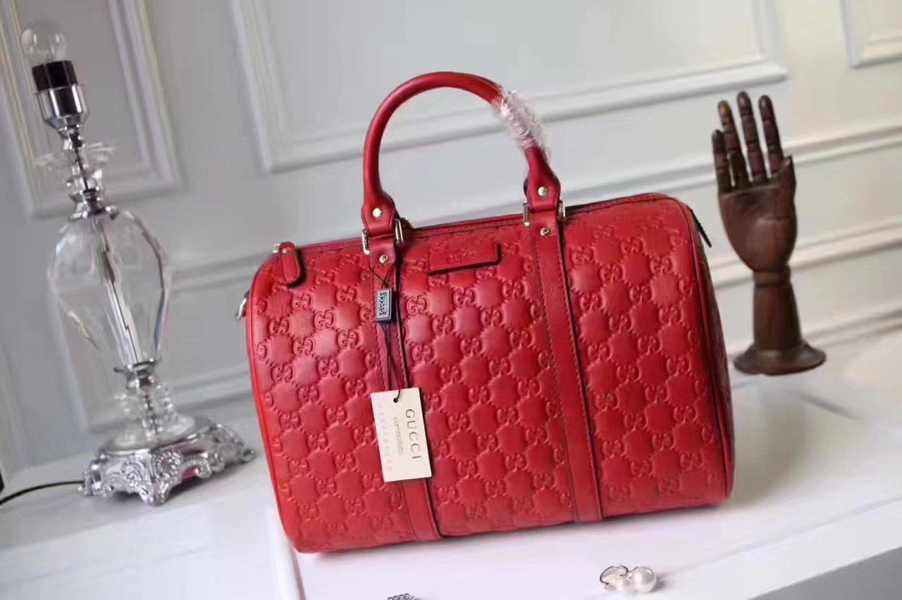 Gucci Signature Leather Women Boston Tote Bag Red