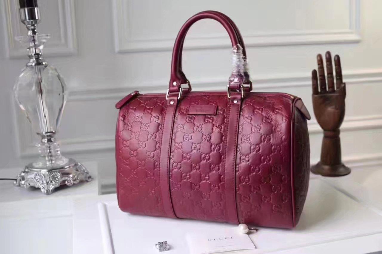 Gucci Signature Leather Women Boston Tote Bag Wine Red
