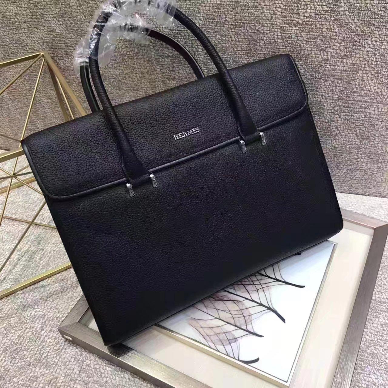 Hermes 2017 Men Leather Briefcase Messenger Bag Black