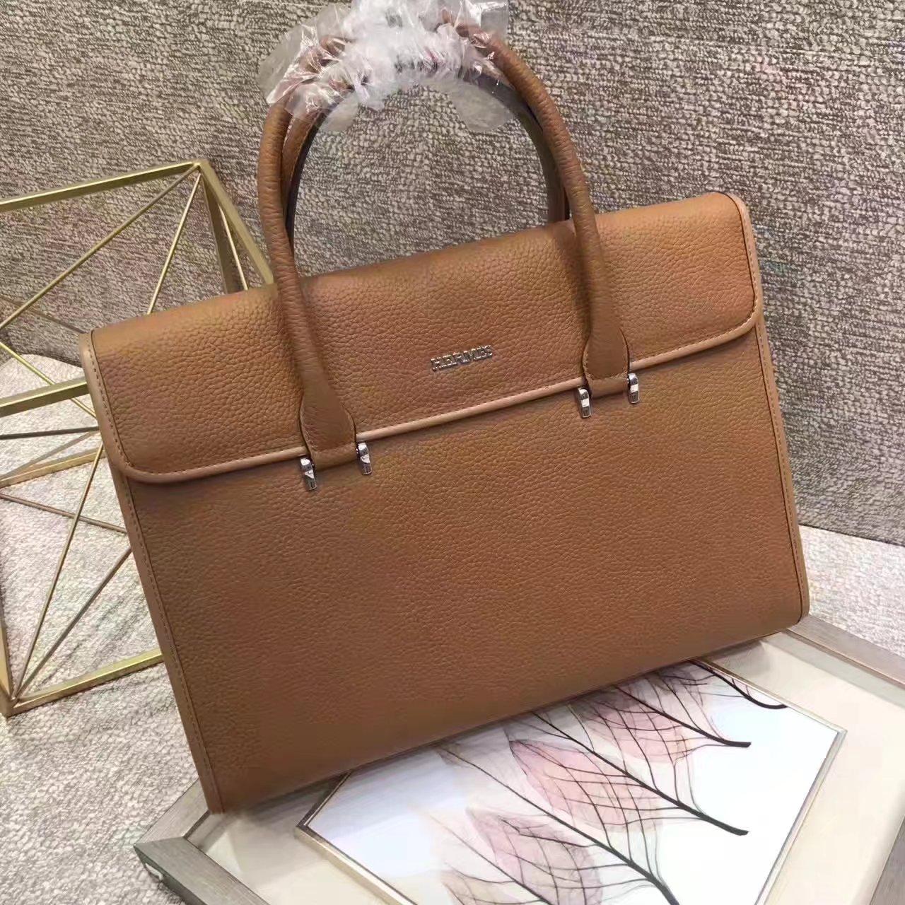 Hermes 2017 Men Leather Briefcase Messenger Bag Light Coffee