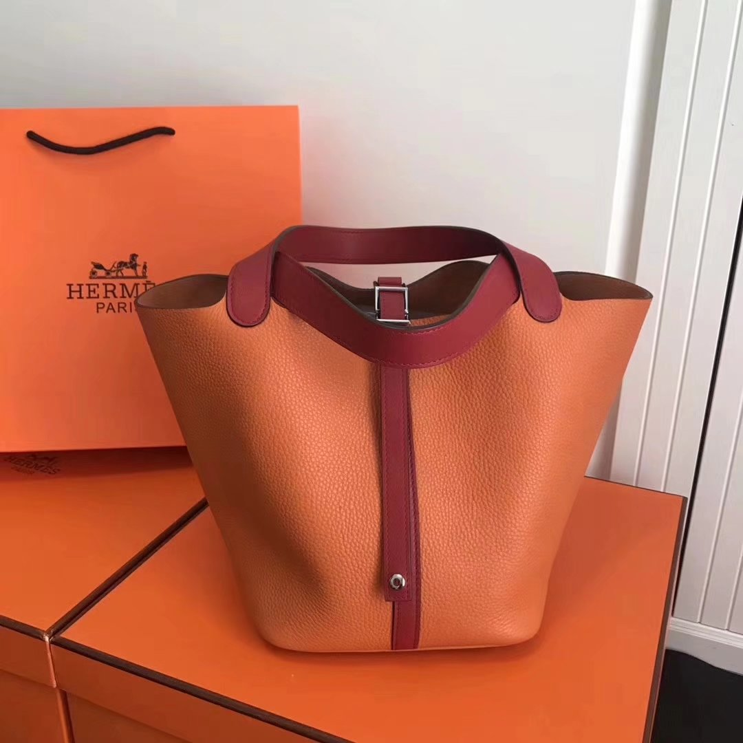 Hermes 20cm Picotin Lock Bag Bi-Color Wide Handle Orange