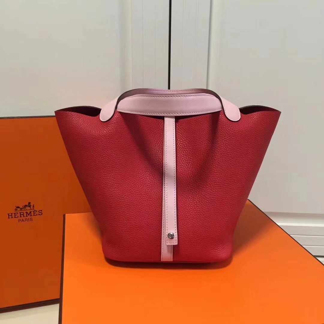 Hermes 20cm Picotin Lock Bag Bi-Color Wide Handle Red