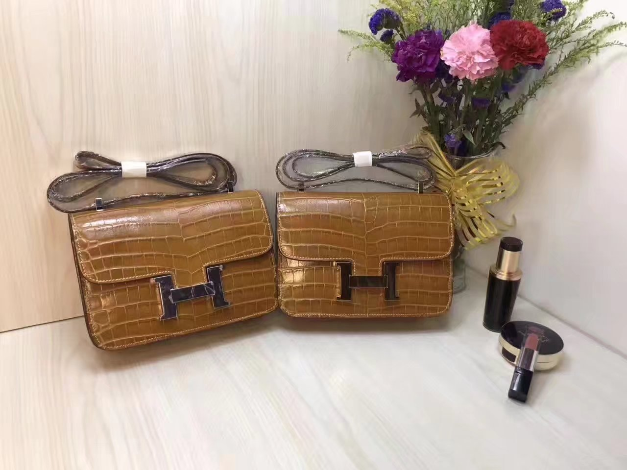 Hermes 23cm Constance Shoulder Bag Crocodile Stripe Chocolate With Gold And Silver