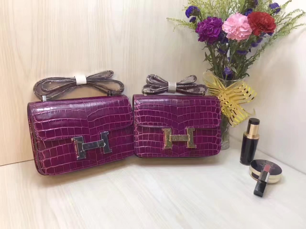 Hermes 23cm Constance Shoulder Bag Crocodile Stripe Purple With Gold And Silver
