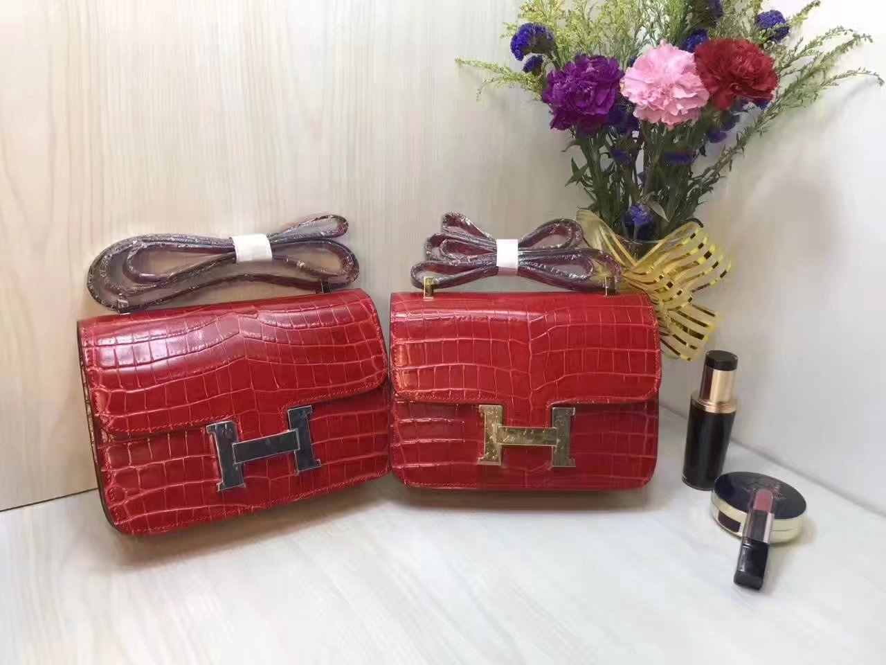 Hermes 23cm Constance Shoulder Bag Crocodile Stripe Red With Gold And Silver