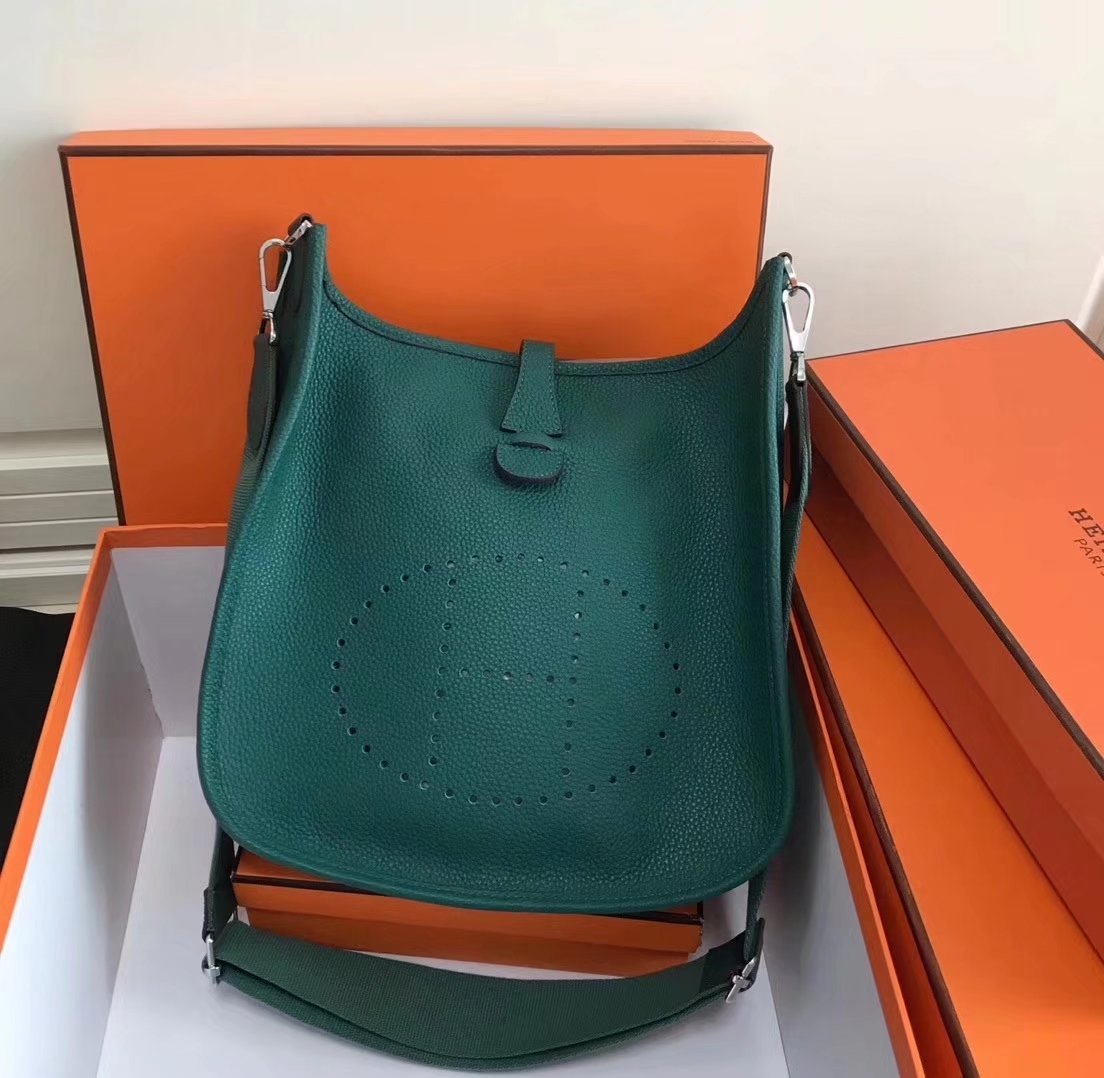 Hermes 28cm Evelyne Leather Bag Green