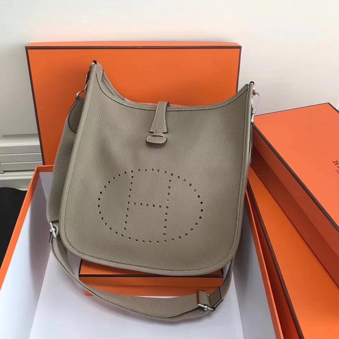 Hermes 28cm Evelyne Leather Shoulder Bag Grey
