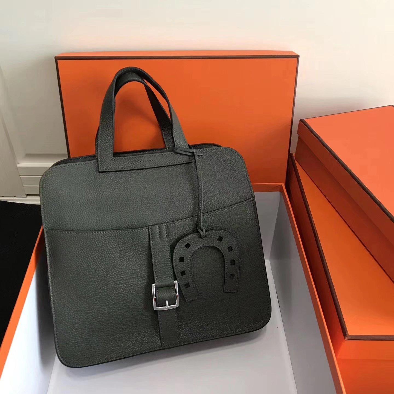 Hermes 31cm Halzan Dark Green Taurillon Clemence Leather