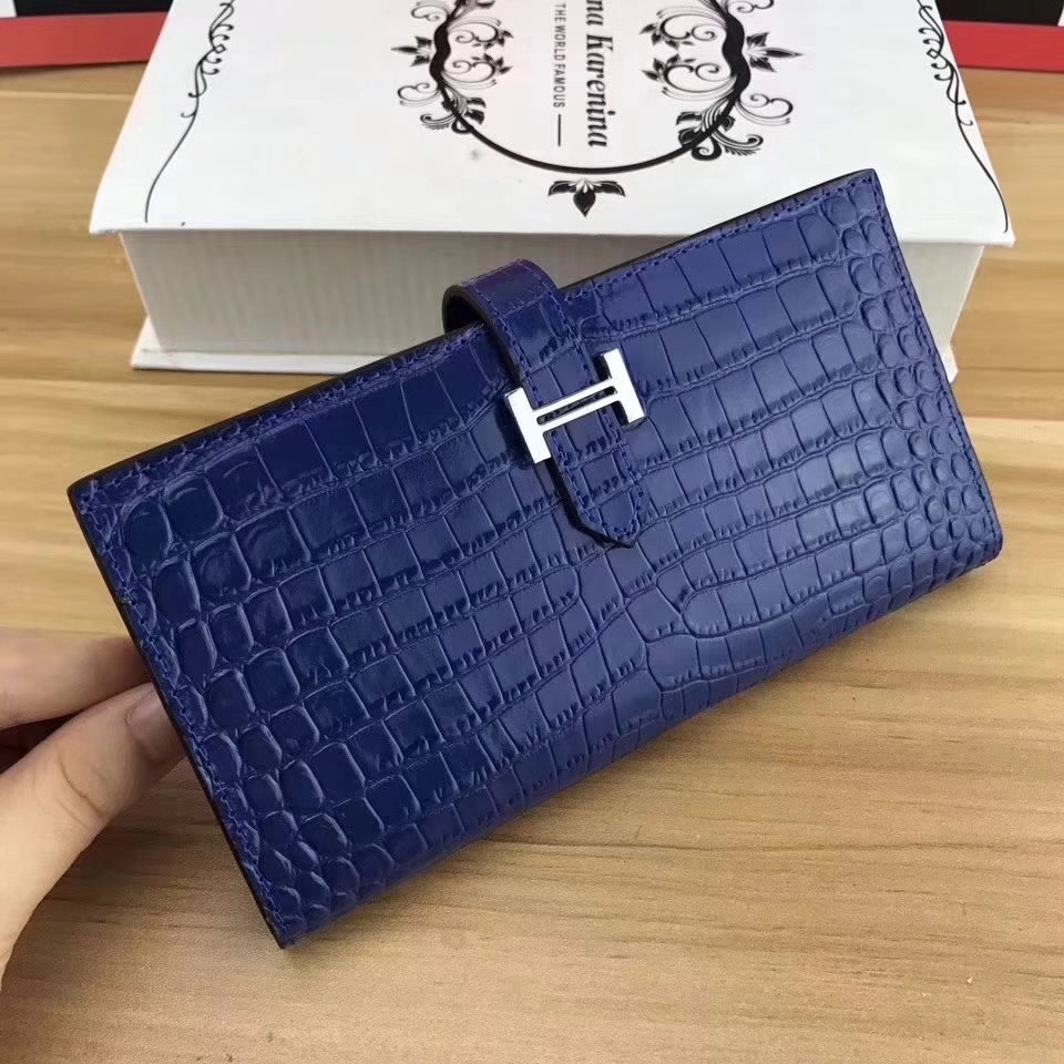 Hermes Bearn Soufflet Women Wallet Crocodile Skin Silver Hardware Blue