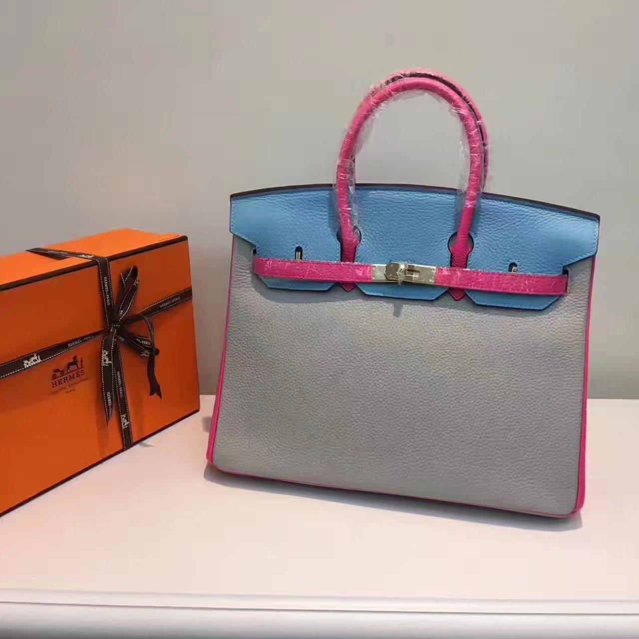 Hermes Birkin 35/30cm Bag Tri-Color Handbag Grey Gold